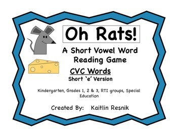 Oh Rats! CVC Word Reading Game Short 'e'