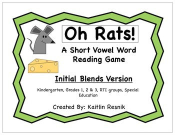 Oh Rats! Initial Consonant Blends Word Reading Game
