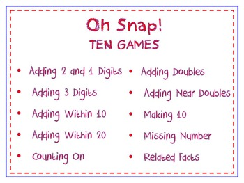 Oh Snap! Bundle of 10 Addition Games for Kindergarten & First Grade