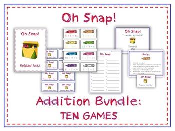 Oh Snap! Bundle of 10 Addition Games for Kindergarten & Fi
