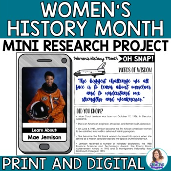 Oh Snap! Editable Social Media Template for Women's History Month