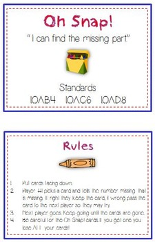 Oh Snap! Math Folder Card Game - Find the Missing Number or Part