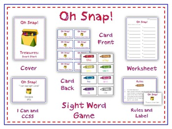 Oh Snap! Math Folder Card Game - Telling Time to Nearest H
