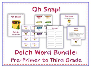 Oh Snap! Sight Word Card Folder Game - 5 Dolch Word Games - Pre Primer to Third!