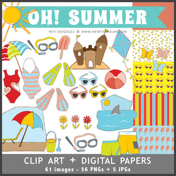 Oh! Summer Clip Art + Digital Papers