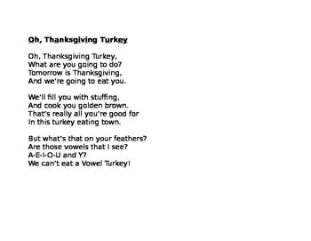 Oh, Thanksgiving Turkey--A Vowel Turkey