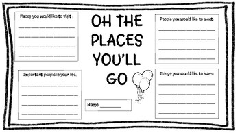 Oh The Places You'll Go Dr Seuss Writing Activity