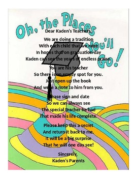 Oh The Places You'll Go Graduation Letter to Teacher- Boy