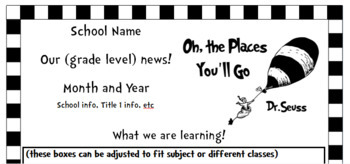 Oh The Places You'll Go! Inspired Monthly Newsletter (black and white)