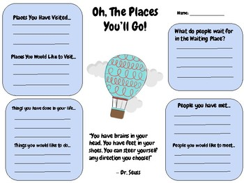 Oh, The Places You'll Go Writing Activity (Dr. Seuss) Read Across America
