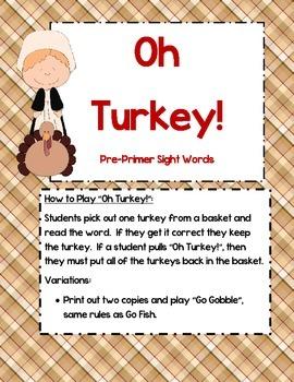 Oh Turkey! - Pre-Primer sight word game