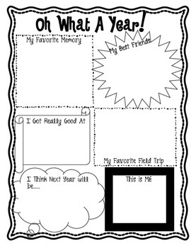 Oh What  a Year - End of Year Memory Graphic Organizer