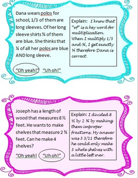 """""""Oh Yeah!"""" """"Uh oh"""": A justification Game with Multiplying and Dividing Fractions"""