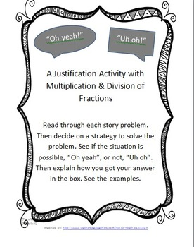 """Oh Yeah!"" ""Uh oh"": A justification Game with Multiplying and Dividing Fractions"