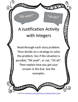 """""""Oh Yeah!"""" """"Uh oh"""": A justification game with Integers"""