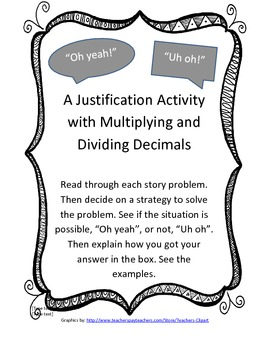 """""""Oh Yeah!"""" """"Uh oh"""": A justification game with multiplying and dividing decimals"""