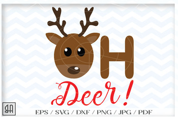 Oh Deer Svg Reindeer Cut Files Christmas Deer Svg File Winter Clipart