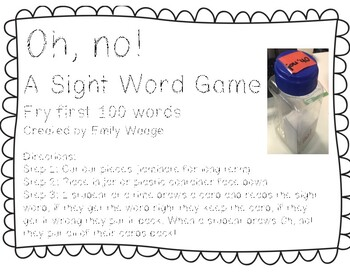 Oh, no! A sight word game