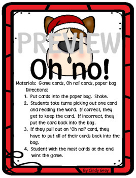 Oh no! Reading High Frequency Words ~Holiday Edition