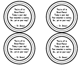 Oh the Places You'll Go Student Gift Tags Black and White