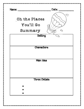 Oh the Places You'll Go Summary Graphic Organizer