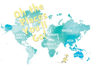 Oh the Places You'll Go Watercolor Map