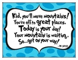 """""""Oh, the Places You'll Go"""" Dr. Seuss Inspirational Poster"""