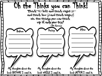 Oh the Thinks You Can Think Reading Guide: Dr. Seuss