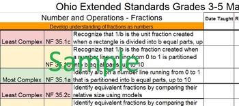 Ohio 3-5 Math Extended Standards Checklist