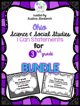 "Ohio 3rd Grade CC ""I CAN"" Statements BUNDLE"