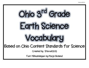 Ohio 3rd Grade Earth Science Vocabulary Words