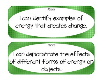 """Ohio 3rd Grade Physical Science """"I Can"""" Statements"""