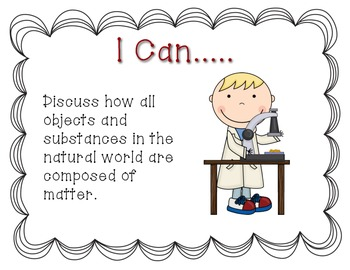 Ohio 3rd Grade Physical Science Standards- I Can Statements