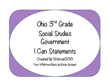 Ohio 3rd Grade Social Studies Government I Can Statements