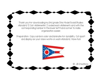 """Ohio 3rd Grade Social Studies """"I Can"""" Statement Cards"""