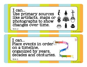 "Ohio 3rd Grade Social Studies ""I Can"" Statement Cards"