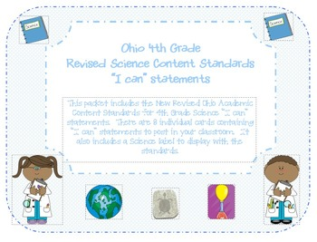 """Ohio 4th Grade Science Content Standards """"I can"""" statements"""