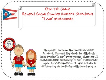 "Ohio 4th Grade Social Studies Academic Content Standards ""I can"" statements"