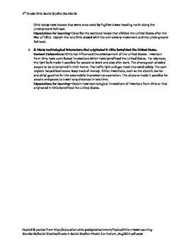Ohio 4th Grade Social Studies Checklist