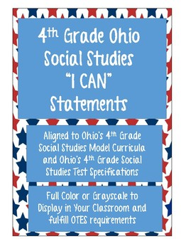 """Ohio 4th Grade Social Studies """"I Can"""" Posters"""