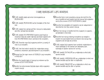 Ohio 5th Grade Science Standards I Can Checklists for Interactive Notebooks
