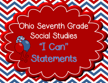 """Ohio 7th Grade Social Studies """"I can"""" Statement Posters"""