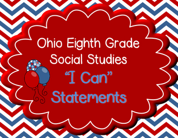 "Ohio 8th Grade Social Studies ""I can"" Statement Posters"