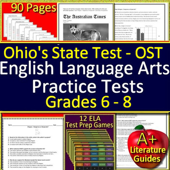 Ohio AIR Test Prep Practice Tests for English Language Arts AND Games BUNDLE!