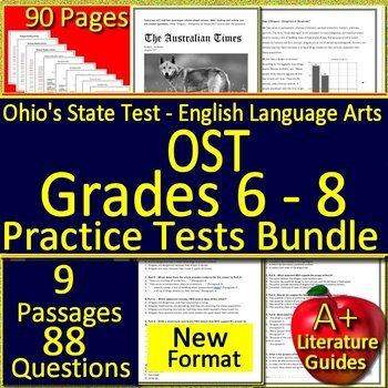 Ohio AIR Test Prep Practice Tests Bundle for Language Arts Grades 6, 7 and 8