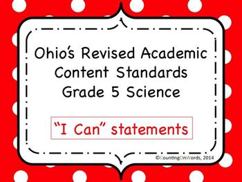 Ohio Academic Content Standards for Science Grade 5: I Can Statements