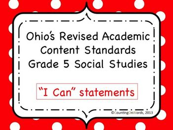 Ohio Academic Content Standards for Social Studies Grade 5: I Can Statements
