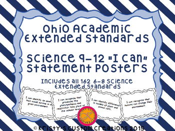 Ohio Academic Extended Standards Science 9-12 I Can Statement Posters