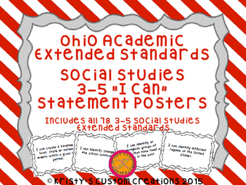 Ohio Academic Extended Standards Social Studies 3-5 I Can Statement Posters