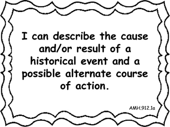 Ohio Academic Extended Standards Social Studies 9-12 I Can Statement Posters